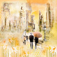Painterly rendering of an urban scene with sketched people with umbrellas walking along a street with lanterns and stylized flowers against a background of skyscrapers in warm yellow and orange tones.