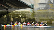 """London. ENGLAND. Saturday 26/01/2013 2013 Quintin Head, River Thames. ..Description -Tideway Scullers School, crew approaching Chiswick Bridge and taking second place in the race...[Mandatory Credit: Peter Spurrier/Intersport Images]..[Head Race: Processional"""" Time Trial].."""