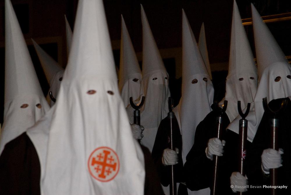 Nazarenos in the Santo Entierro Night Procession during Semana Santa in Cuenca, Spain