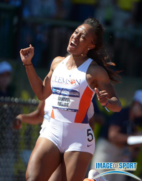 Jun 8, 2013; Eugene, OR, USA; Brianna Rollins of Clemson celebrates after setting a collegiate record of 12.39 in the womens 100m hurdles in the 2013 NCAA Championships at Hayward Field.