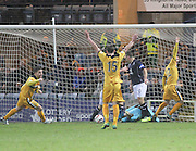Dundee keeper Kyle Letheren claws the ball back in the incident where Dumbarton thought Bryan Prunty's effort had crossed the goal line - Dundee v Dumbarton, SPFL Championship at Dens Park<br /> <br />  - &copy; David Young - www.davidyoungphoto.co.uk - email: davidyoungphoto@gmail.com