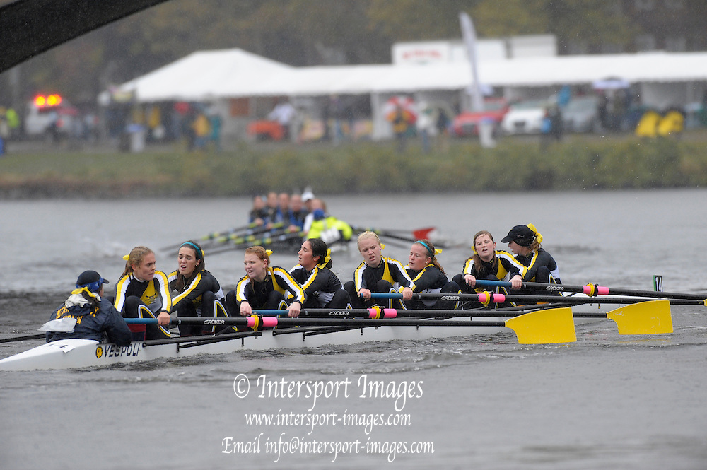 Cambridge, USA, Youth women' eights,   Merion Mercy Academy approaching the John Weeks footbridge during the  2009 Head of the Charles  Sunday  18/10/2009  [Mandatory Credit Peter Spurrier Intersport Images],.