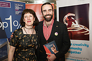 REPRO FREE:  Sinead McPhillips GIAF and actor Sean T O Meallaigh  in Hotel Meyrick for the announcement of the programme for the 2018 Galway International Arts Festival Programme 16-29 July which features an exciting Irish and international programme of theatre, opera, dance, circus, music, spectacle, visual art, and First Thought Talks featuring interviews and discussions on the theme of home, six world premieres, five Irish premieres and artists and theatre makers from across the world. Highlights include world premieres of Paul Muldoon's Incantata, new plays by Sonya Kelly and Cristin Kehoe (Druid) and a new theatre installation from Enda Walsh, visual arts / installations commissions from David Mach Rock 'n' Roll and Olivier Grossetête The People Build. Photo:Andrew Downes, xposure.