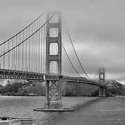 Golden Gate Bridge - Fort Point Bluff - Black & White