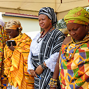 Queen Mothers at a swearing-in ceremony for newly elected members of their council in Accra, Ghana on 23 June 2015. A queen mother is a traditional female leader, drawn from the relevant chiefly lineage, who is responsible for women's and children's issues in particular. Though often widely respected and sometimes powerful, especially in matrilineal ethnic groups, their authority is subject to a male chief. After being suppressed during the colonial era, the role of queen mother is being revived in Ghana and is seen by many as a force for development.