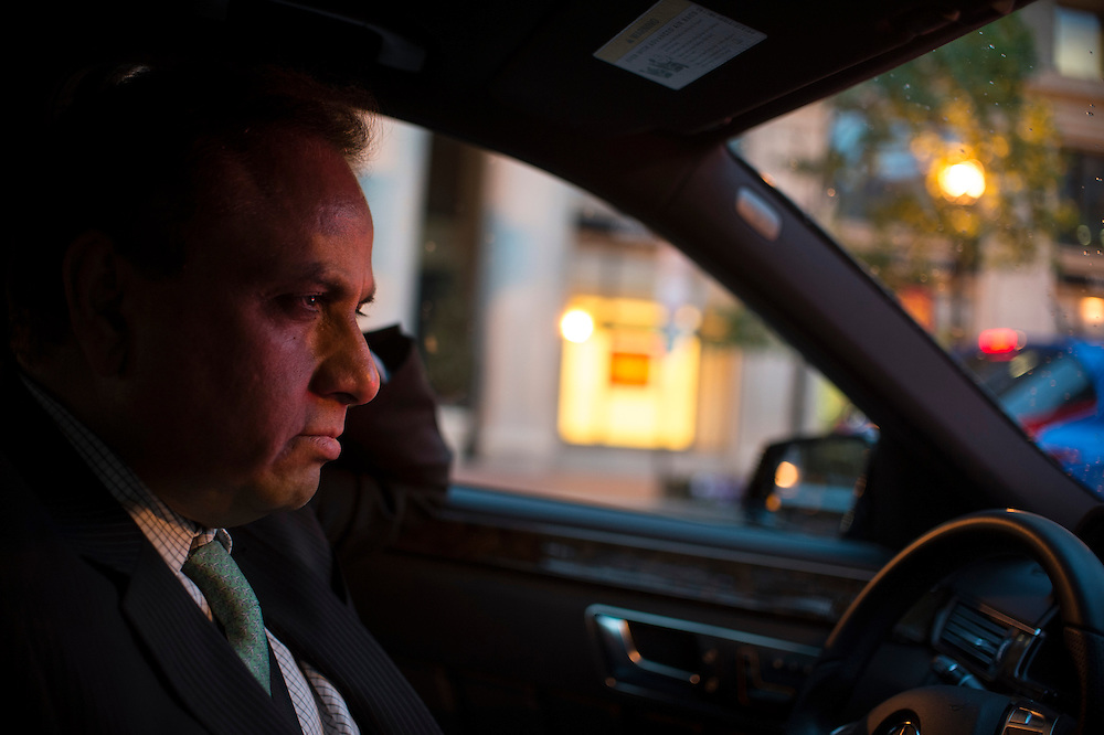 Photo by Matt Roth<br /> Assignment ID: 30142124A<br /> <br /> Restauranteur Ashok Bajaj drives in his Mercedes highly to check in on his restaurants in Washington, D.C. on Thursday, May 09, 2013.