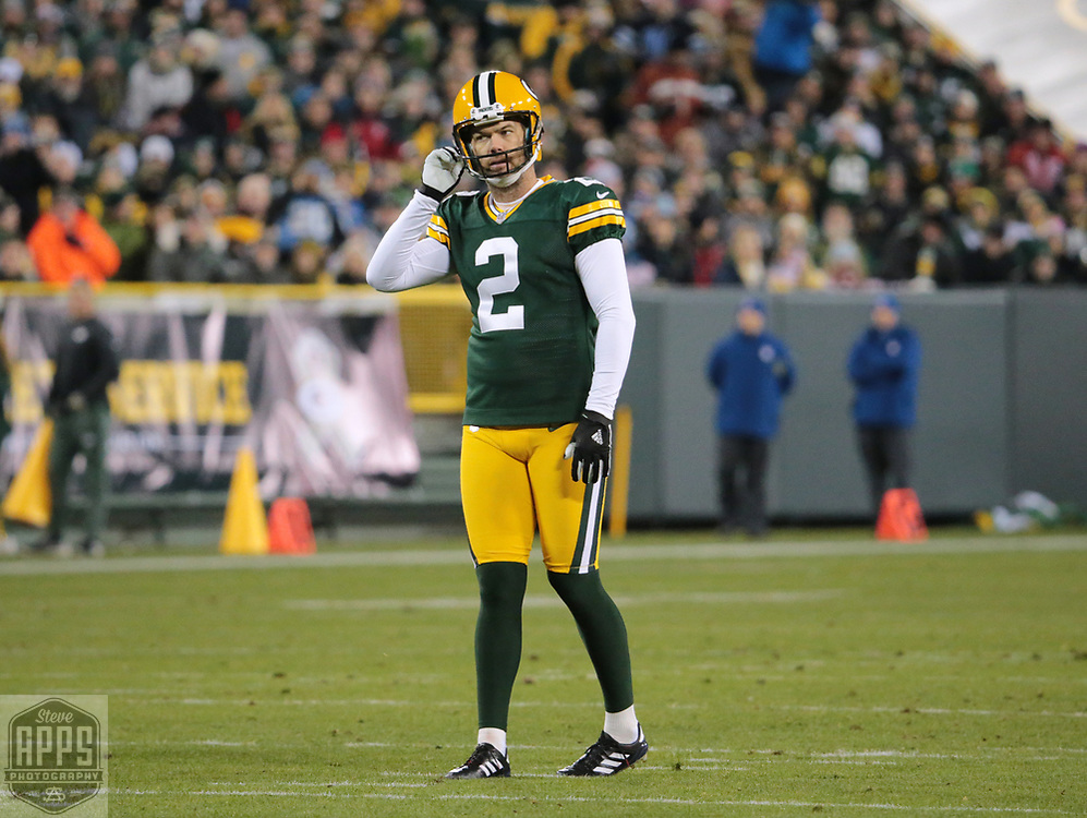Green Bay Packers kicker Mason Crosby (2) after having his 38-yard field goal attempt blocked in the 1st quarter. <br /> The Green Bay Packers hosted the Detroit Lions at Lambeau Field Monday, Nov. 6, 2017. STEVE APPS FOR THE STATE JOURNAL.