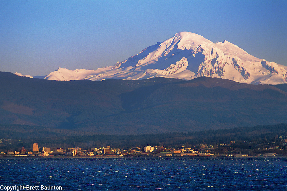 Mt. Baker over Bellingham, WA from Lummi Res