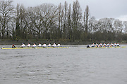 London. UNITED KINGDOM.  Oxford University BC vs German Crew. Varsity Fixture before the 159th BNY Mellon Boat Race on the Championship Course, River Thames, Putney/Mortlake.  Sunday  17/03/2013    [Mandatory Credit. Intersport Images], Oxford from Bow, Patrick Close, Geordie Macleod, Alex Davidson, Sam O'Connor, Paul Bennett, Karl Hudspith, Constantine Louloudis, Malcolm Howard and Cox Oskar Zorrilla. Germany from Bow, Toni Seifert 2012 M4-, Felix Wimberger 2012 U23 M8+, Maximilian Reinelt 2012 M8+, Felix Drahotta 2012 M2-, Anton Braun 2012 M2-, Kristof Wilke 2012 M8+, Richard Schmidt 2012 M8+, Eric Johannesen 2012 M8+ and Cox Martin Sauer 2012 M8+..Both crews racing.