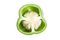 Close-up of cross section of green bell pepper