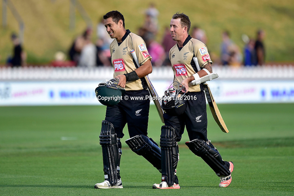 Ross Taylor (L) captain of the North Island team walks from the field after winning with team mate Luke Ronchi during the North Island vs South Island cricket match at the Basin Reserve in Wellington on Sunday the 28th of February 2016. Copyright Photo by Marty Melville / www.Photosport.nz
