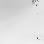 Forrest Jillson (F) Andrew Whiteford (B) descending off of Cody Peak in near zero visibility.