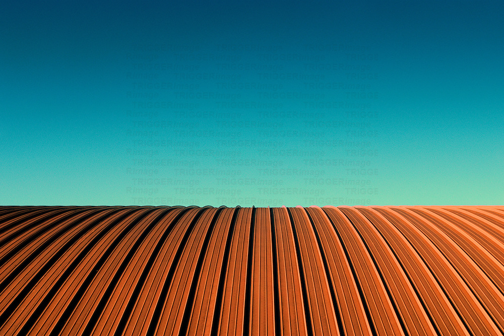 Roof resembling a ploughed field with blue sky