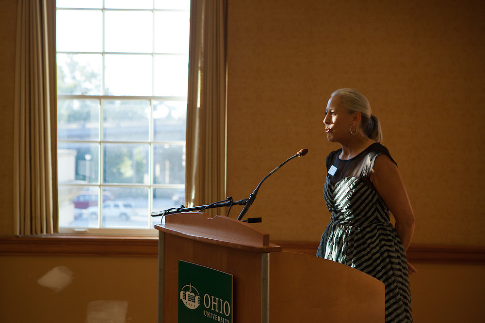 Jennider Neubauer, Executive Director of the Ohio UNnversity Alumni Association at the Black Alumni Reunion Welcome Reception at Baker Center on September 27, 2013.