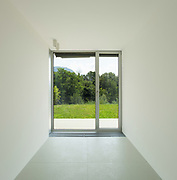 Architecture, new house with garden, interior of empty room