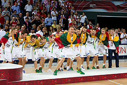 Players of Lithuania celebrate after winning third place at 2010 FIBA World Championships on September 12, 2010 at the Sinan Erdem Dome in Istanbul, Turkey.  (Photo By Vid Ponikvar / Sportida.com)