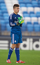 MADRID, SPAIN - Tuesday, November 4, 2014: Real Madrid CF's goalkeeper David Oliveros in action against Liverpool during the UEFA Youth League Group B match at Ciudad Real Madrid. (Pic by David Rawcliffe/Propaganda)