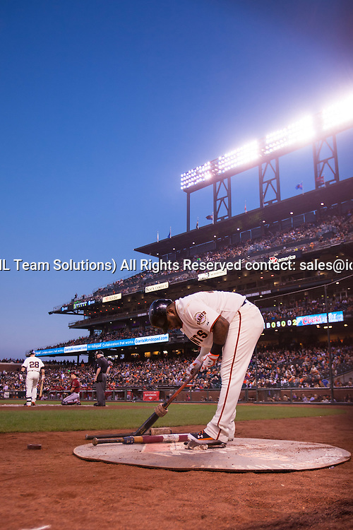 September 10, 2014: Pablo Sandoval (48) of the San Francisco Giants on deck in the first inning,  during the game between the San Francisco Giants and the Arizona Diamondbacks at AT&T Park in San Francisco, California, USA.