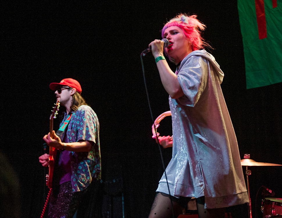 Eric Randall and Emily Nokes of Tacocat performing at the Constellation Room in Santa Ana, CA, April 19, 2017
