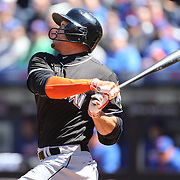 NEW YORK, NEW YORK - APRIL 13: Giancarlo Stanton, Miami Marlins, batting during the Miami Marlins Vs New York Mets MLB regular season ball game at Citi Field on April 13, 2016 in New York City. (Photo by Tim Clayton/Corbis via Getty Images)
