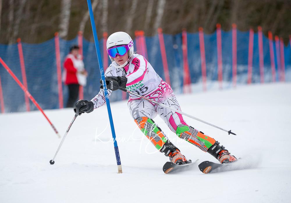 Piche Invitational Slalom U14 girls 1st run Sunday, March 17, 2013.  Karen Bobotas Photographer