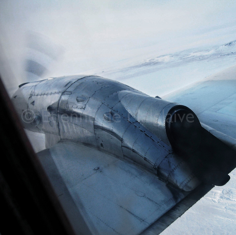 Flying on a First Air old aircraft over Nunavut, 2006.