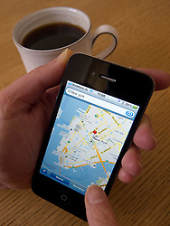 Looking at Google map of Manhattan New York City on an Apple iphone 4G smart phone