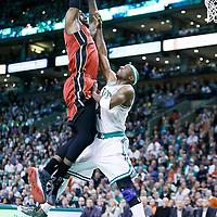 18 March 2013: Miami Heat small forward LeBron James (6) dunks over Boston Celtics shooting guard Jason Terry (4) during Miami Heat 105-103 victory over the Boston Celtics at the TD Garden, Boston, Massachusetts, USA.