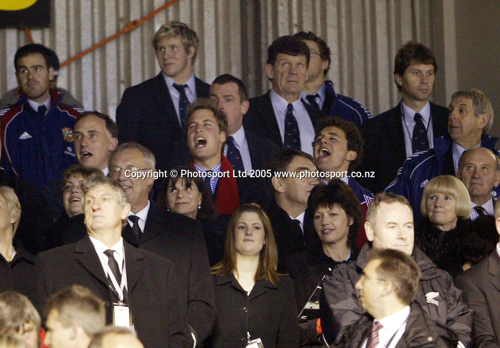 Prince William cheers for the Lions during the 3rd test match between the British and Irish Lions and the All Blacks at Eden Park, Auckland, New Zealand, on Saturday 9 July, 2005. The All Blacks won the match 31-19. Photo: Michael Bradley/PHOTOSPORT<br /><br /><br />129818