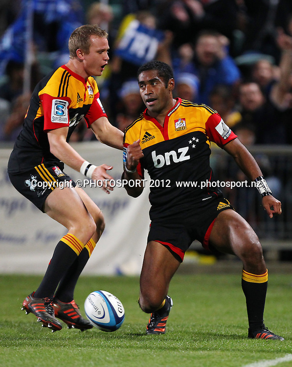 Asaeli Tikoirotuma of the Chiefs scores a try during the Super Rugby game between The Blues and The Chiefs, North Harbour Stadium, Auckland, New Zealand, Saturday June 2nd 2012. Photo: Simon Watts / photosport.co.nz