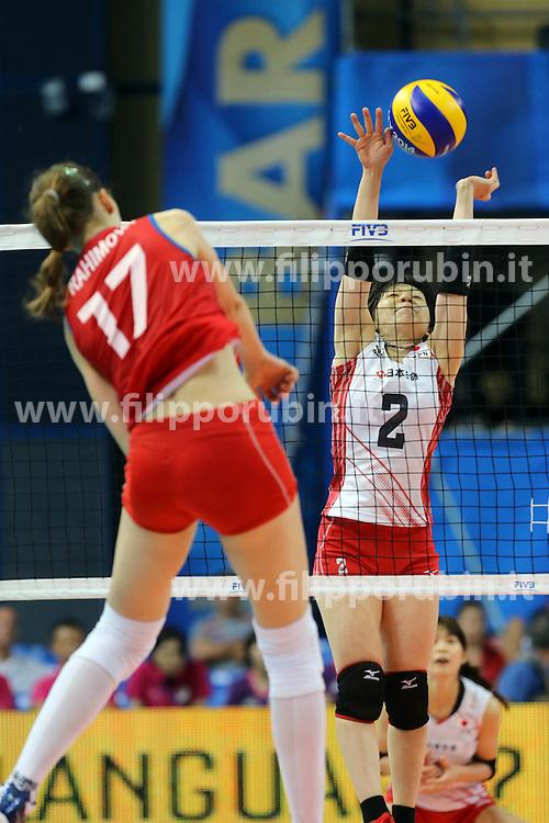 Azerbaijan Polina Rahimova spikes against Japan Hitomi Nakamichi
