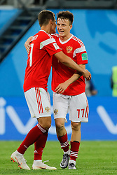 June 19, 2018 - Saint Petersburg, Russia - Aleksandr Golovin (R) and Roman Zobnin of Russia national team celebrate victory during the 2018 FIFA World Cup Russia group A match between Russia and Egypt on June 19, 2018 at Saint Petersburg Stadium in Saint Petersburg, Russia. (Credit Image: © Mike Kireev/NurPhoto via ZUMA Press)
