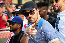 © Licensed to London News Pictures. 05/08/2018. LONDON, UK. Usher (L), singer, and Jeremy Piven C), actor, join the other entrants. Gumball 3000, a charity rally for supercars and more, including celebrity entrants, begins in Covent Garden with 150 participants beginning their journey from London to Tokyo.  Photo credit: Stephen Chung/LNP