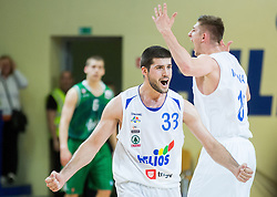 Marko Boltic of Helios Domzale and Gezim Morina of Helios Domzale react during basketball match between KK Helios Domzale and KK Union Olimpija Ljubljana in 2nd Semifinal match of Telemach League 2013/14, on May 15, 2014 in Dvorana Komunalnega centra, Domzale, Slovenia. Photo by Vid Ponikvar / Sportida