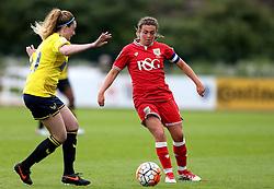 Jodie Brett of Bristol City Women takes on Madi Lee of Oxford United - Mandatory by-line: Robbie Stephenson/JMP - 25/06/2016 - FOOTBALL - Stoke Gifford Stadium - Bristol, England - Bristol City Women v Oxford United Women - FA Women's Super League 2