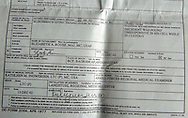 Copy photo of  deceased farmer Diliwar's death certificate shot on May 2, 2005.  The 22-year-old farmer and part-time taxi driver died in December 2002 while being held in the main United States air base at Bagram, north of Kabul. His death was ruled a homicide by the Army medical examiner.<br />