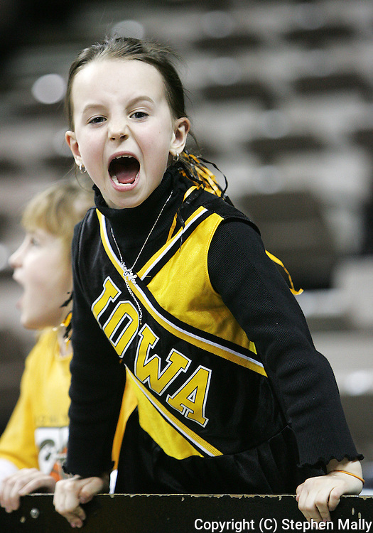 25 JANUARY 2007: A young Iowa fan yells with the crowd in Iowa's 80-78 overtime loss to Minnesota at Carver-Hawkeye Arena in Iowa City, Iowa on January 25, 2007.