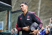 Manchester United Defender Chris Smalling arrives off the club coach during the Premier League match between Brighton and Hove Albion and Manchester United at the American Express Community Stadium, Brighton and Hove, England on 19 August 2018.