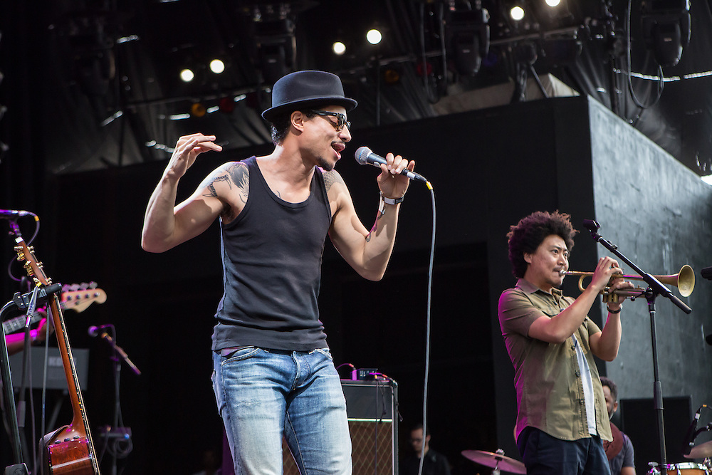 José James and his trumpet player Takuya Kuroda on stage. James and his band opened for Esperanza Spalding at Celebrate Brooklyn at the Prospect Park Bandshell.