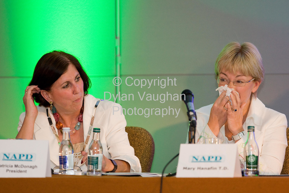 11/10/2007.The president of The NAPD Patricia McDonagh and the Minister for Education and Science Mary Hanafin TD pictured at the NAPD Conference at the Lyrath Estate Hotel in Kilkenny yesterday..Picture Dylan Vaughan.