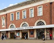 People outside Exeter Central Station  railway station, Exeter city centre, Devon, England, UK