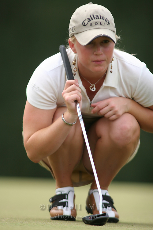 February 18, 2006; Kahuku, HI - Morgan Pressel reads her putt during the final round of the LPGA SBS Open at Turtle Bay Resort...Mandatory photo credit: Darrell Miho.© Darrell Miho