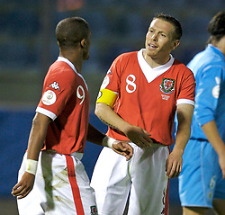 San Marino, San Marino - Wednesday, October 17, 2007: Wales' captain Craig Bellamy and Robert Earnshaw during the Group D UEFA Euro 2008 Qualifying match against San Marino at the Serravalle Stadium. (Photo by David Rawcliffe/Propaganda)