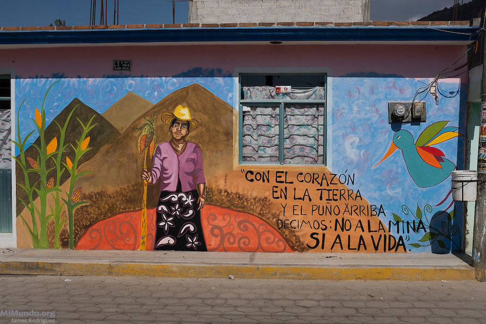 "Anti-mining mural painted on the main street of Tlamanca by participants of the 2014 Mexican Network of Mining-Affected Peoples (REMA, for its initials in Spanish) Encounter. The mural reads: ""With our heart on the Earth and our fist raised high, we claim: No to the Mine, Yes to Life!"" Hundreds of people from mining-affected communities throughout Mexico gathered for three days to exchange experiences, renew alliances and discuss strategies. Tlamanca, Zautla, Puebla, México. March 16, 2014."