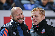 Lee Carsley  and Bolton Wanderers First Team Manager Neil Lennon during the Sky Bet Championship match between Bolton Wanderers and Brentford at the Macron Stadium, Bolton, England on 30 November 2015. Photo by Simon Davies.