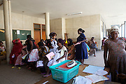 A busy waiting area in Mulago hospital, Uganda.
