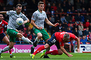 Jon Parkin of York City (19) with a stooping header shot during the Vanarama National League match between York City and Blyth Spartans at Bootham Crescent, York, England on 27 August 2018.