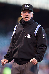 June 29, 2010; San Francisco, CA, USA;  Major League Baseball umpire Mike Everitt (57) during the first inning of the game between the San Francisco Giants and the Los Angeles Dodgers at AT&T Park.
