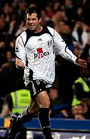 Photo: Ed Godden.<br />Chelsea v Fulham. The Barclays Premiership. 30/12/2006.<br />Fulham's Carlos Bocanegra celebrates his goal to make it 2-2.