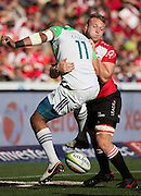 Lions v Highlanders. Patrick Osborne of the Highlanders is tackled by Ruan Ackermann of the Emirates Lions during the 2016 Super Rugby semi-final match at Ellis Park, Johannesburg, 30 July 2016. <br /> <br /> © Anton de Villiers / www.photosport.nz